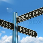 Loss Profit Or Break Even Signpost Showing Investment Earnings A